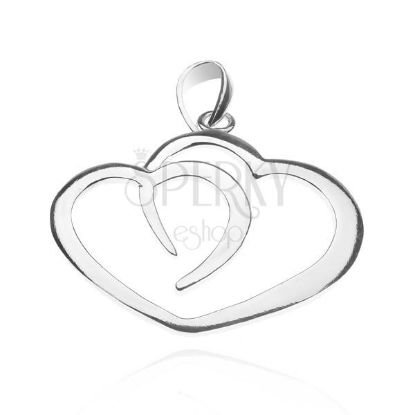 Medál sterling ezüstből - kettős szív körvonal
