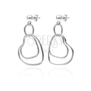 Bedugós ezüst fülbevaló - dupla szívkörvonal, sima és mintázott felület