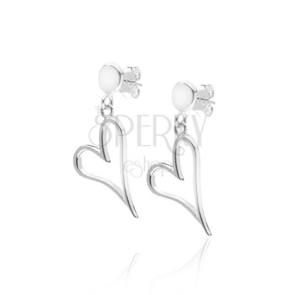 Fülbevaló 925 ezüstből - hosszúkás szívkörvonal ferdén fogatva