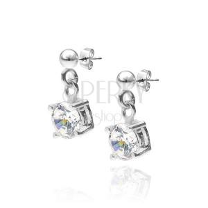 Bedugós ezüst fülbevaló - függő kerek cirkónia kehelyben