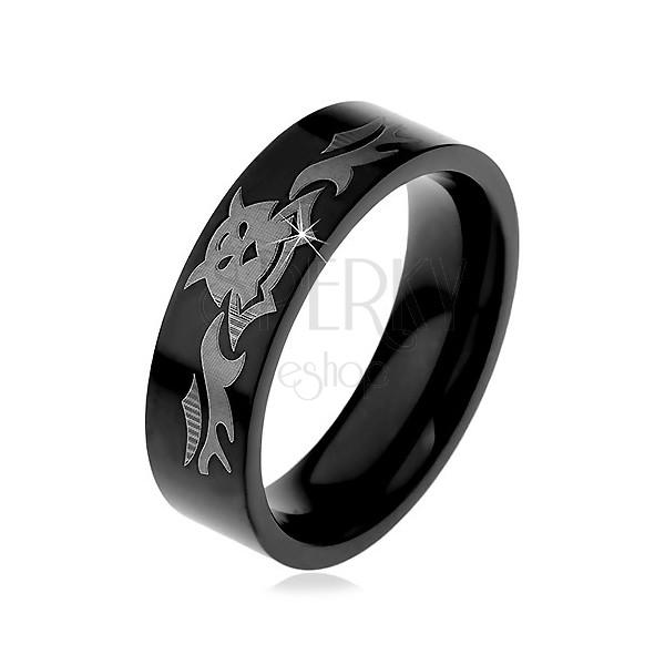 Fekete gyűrű nemesacélból - bézs denevér motívum