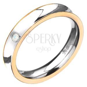 Acél gyűrű - arany színű szegélyek, kerek tiszta cirkónia