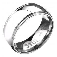 Gyűrű nemesacélból - domború felület bemart szegélyekkel