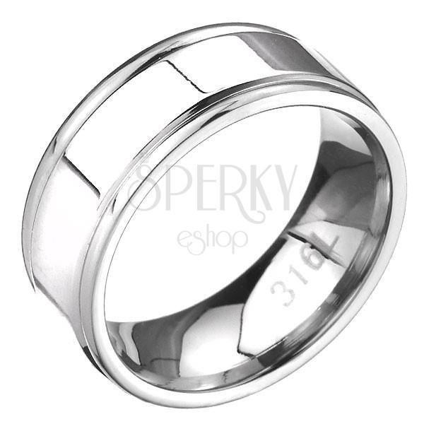 Nemesacél gyűrű - bemart sáv a szegélyeken, lapos felület