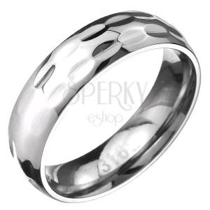 Gyűrű 316L acélból két sor ovális bemélyedéssel
