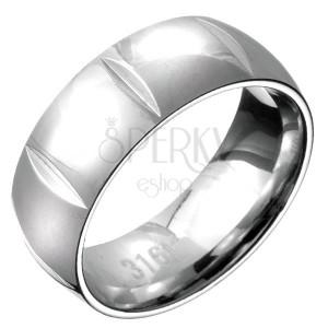 Gyűrű acélból - domború, függőleges bevágások