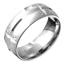 Acélgyűrű - vízszintes és függőleges véset, szegecs motívum