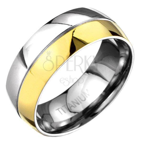 Titánium gyűrű - domború, arany - ezüst, elválasztó vésettel