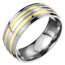 Titánium karikagyűrű - váltakozó arany és ezüst csíkok, gravírozott