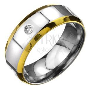 Titániumgyűrű - ezüst karika arany szegéllyel és cirkonkővel