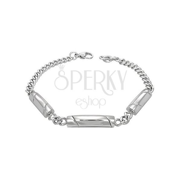 Karkötő sebészeti acélból, ezüst árnyalat, három henger ferde vonalakkal