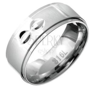 Gyűrű acélból - kiemelkedő középső sáv félholdas bevágásokkal