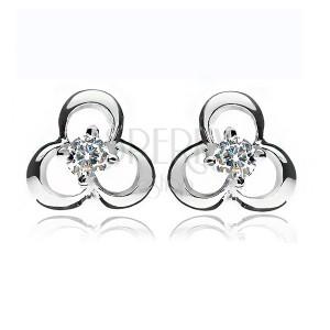 925 ezüst fülbevaló - lóhere tiszta cirkonkővel a közepén, bedugós