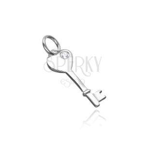 Sterling ezüst függő - kulcs szívecske fejjel és cirkóniával