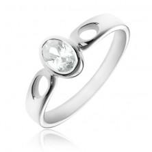 Ezüstgyűrű - ovális, tiszta cirkónia, könnycsepp kivágás
