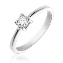 Gyűrű 925 ezüstből - kerek tiszta kő, négypálcás fogat