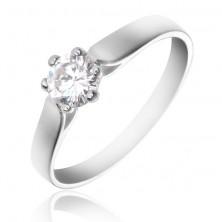 Gyűrű 925 ezüstből - ívelt szárak és tiszta kerek cirkónia
