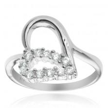 Ezüstgyűrű - szívecske és cirkonköves könnycsepp