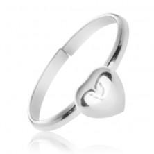 Gyűrű kiemelkedő teljes szívvel - ezüst