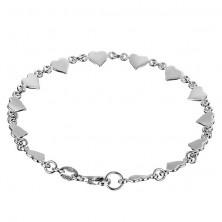 Karkötő 925 ezüstből - fényes lapos szívecskék