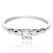 Jegygyűrű ezüstből - tiszta kő, kettős gyűrűs díszítés