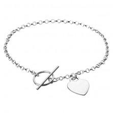 Sterling ezüst karlánc - lapos szívecske láncon, kör és pálca