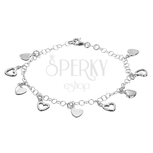 925 ezüst karkötő - teljes és üres szív alakú függők