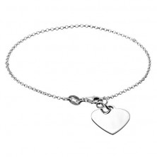 Egyszerű sterling ezüst karlánc lapos szív medállal