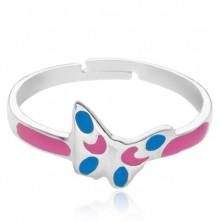 Gyűrű 925 ezüstből - rózsaszín és kék pillangó, állítható méret