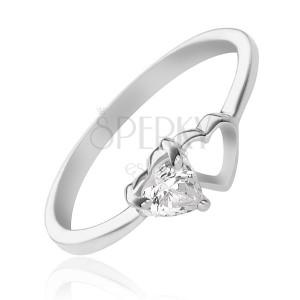 925-ös ezüst gyűrű - üres és cirkonköves szívecske