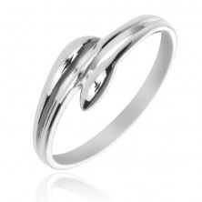 Ezüst gyűrű - szétágazó szárak, levél alakban