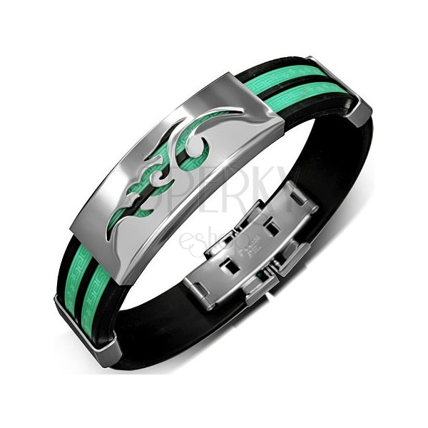Fekete kaucsuk karkötő - két zöld sáv, görög kulcs motívumok, fémlapok
