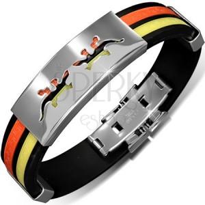 Karkötő kaucsukból - fekete, narancs és sárga sáv, tábla gyíkokkal