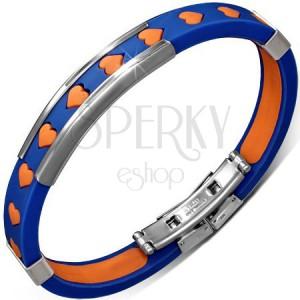 Karkötő gumiból - kék, narancs szívekkel és fém díszítésekkel