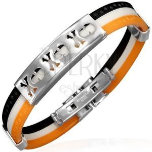 Kaucsuk karkötő - fekete, fehér és narancs, tábla kivágott koponyákkal
