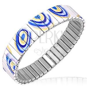 Acél karkötő - rugalmas fehér elemek sárga és kék mintával