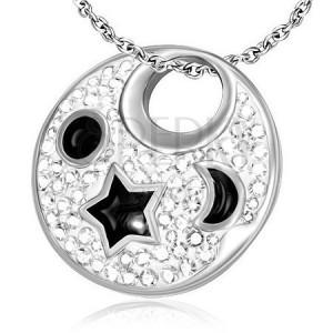 Acélmedál - fehér körlap fekete csillaggal, félholddal és nappal