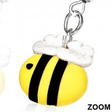 Fülbevaló FIMO anyagból - méhecske csillogó szárnyakkal
