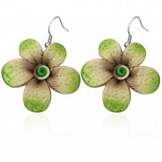 Fimo fülbevaló - nyomott mintás zöld virág, csavart középső rész