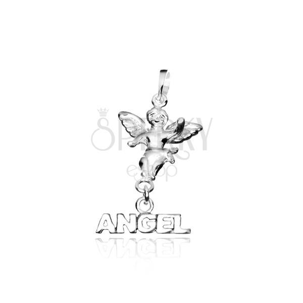 Ezüst függő - angyalka ANGEL felirattal