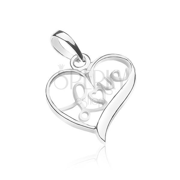 Függő 925 ezüstből - LOVE felirat a szívben