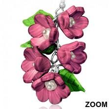 Bordó FIMO virágok gyöngyökkel és levelekkel