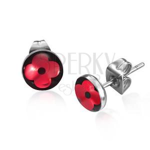 Bedugós acél fülbevaló - kör fényes piros virággal