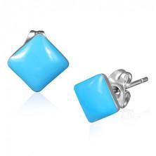 Bedugós kék fülbevaló - selyemfényű négyzet