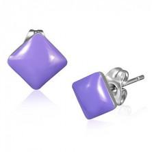 Rozsdamentes acél fülbevaló - lila négyzet