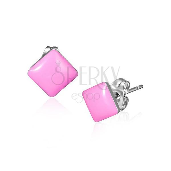Fülbevaló acélból - fényes rózsaszínű négyzetek