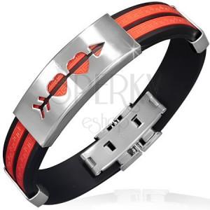 Piros-fekete kaucsuk karkötő és tábla átlőtt szívecskékkel