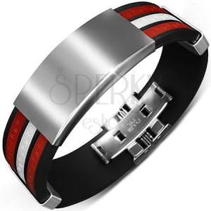 Gumi karkötő fekete színben - piros és fehér sáv, sima díszek