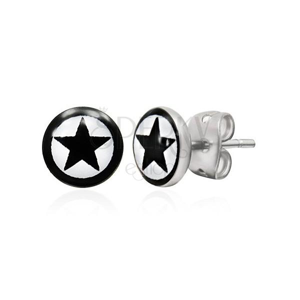 Kerek acél fülbevaló - fekete csillag szegéllyel