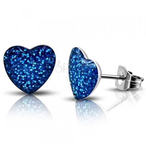 Acél fülbevaló - ragyogó kék szívecske, bedugós